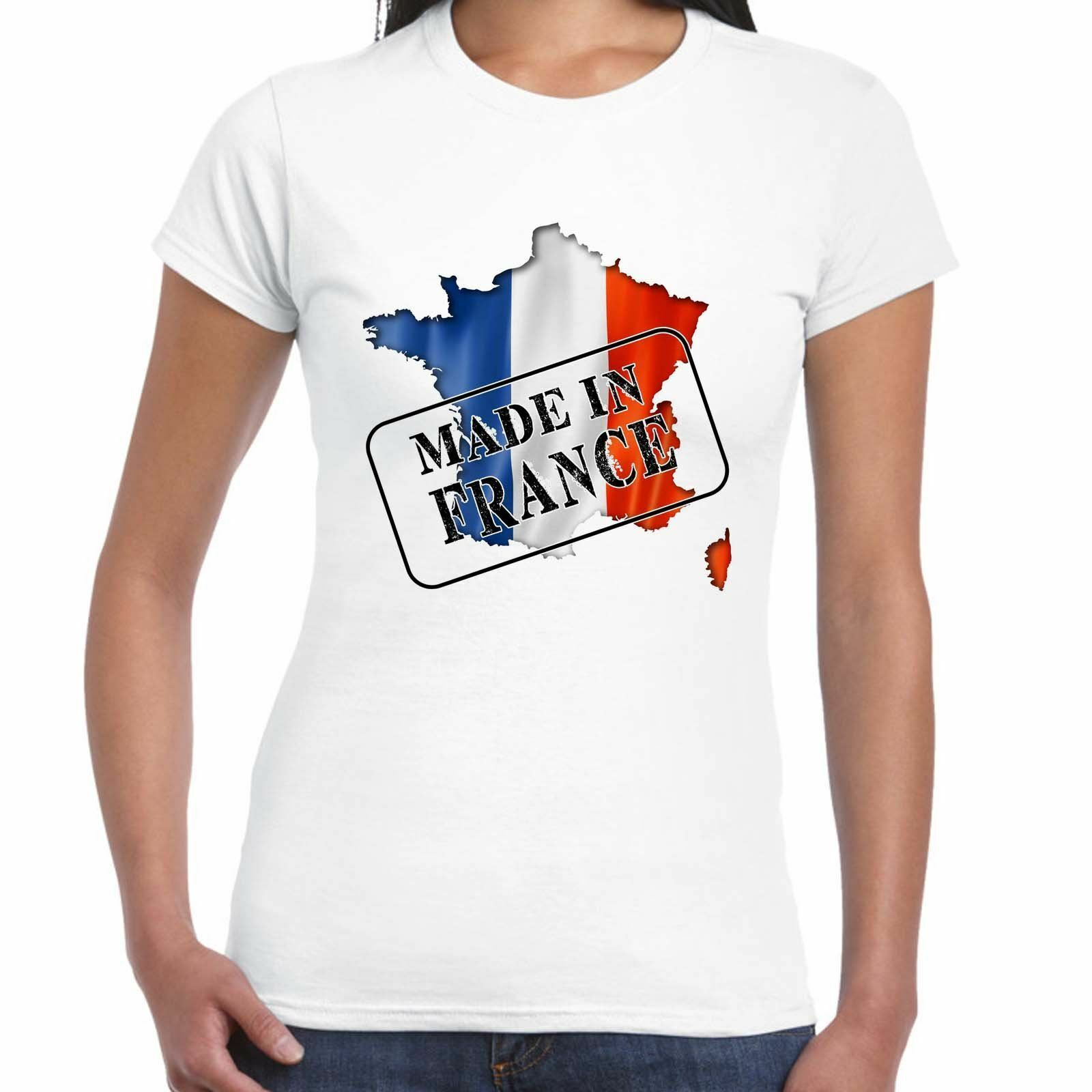 Made in France - Flag and map - Ladies T Shirt - Country, Gift, Tee