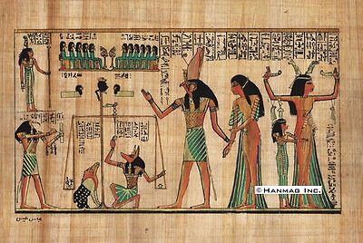 """Egyptian Papyrus Painting - The Judgment 8X12"""" + Hand Painted + Description #78"""