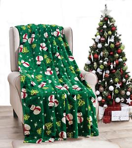 NEW-Ultra-Cozy-amp-Soft-Christmas-Holiday-Green-Snowman-Plush-Warm-Throw-Blanket
