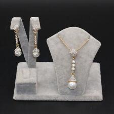 Woman Pearl Gold Plated Wedding Jewelry Set Necklace Pendant Ear Dangle Earrring