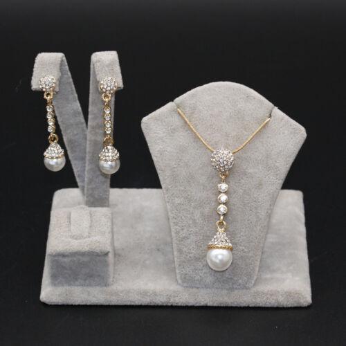 Woman 18K Yellow Gold Filled Pearl Zircon Jewelry Set Pendant Necklace Earrrings