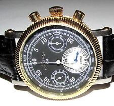 BURAN CHRONO RUSSIAN 31681 12 HOUR SUB DIAL MANUAL GOLD TONE 25J WATCH 280-400