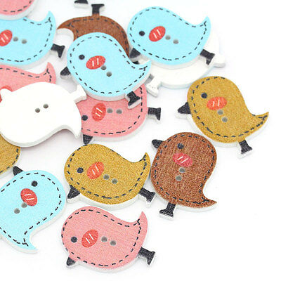 100PCs Crafts Mixed Wood Sewing Buttons Scrapbooking Bird 2 Holes 26mm x 23mm
