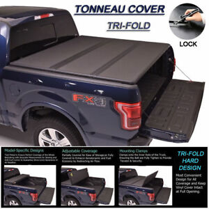 Fits 2015 2018 Ford F150 Tri Fold Solid Hard Tonneau Cover