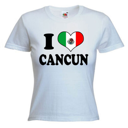 I Love Heart Cancun Mexico Ladies Lady Fit T Shirt 13 Colours Size 6-16