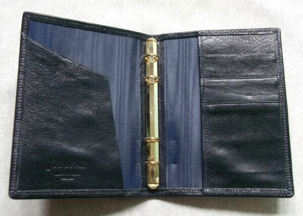 Activo Organizador Filofax Archivo Cuero Nueva Cartera Delgado Bolsillo Más Oscuro Azul Marino 11mm De Diámetro-ver Calidad Primero