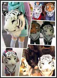 NEW-Simulation-Fashion-3D-Tiger-Head-White-Backpack-Bag-gift-couple-cartoon