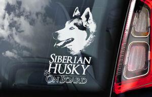 Husky-Siberiano-On-Board-Auto-Finestrino-Adesivo-Huskie-Slitta-Cane-Firmare