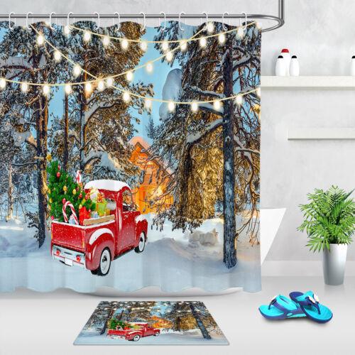 Winter Snowy Trees Farmhouse Xmas Red Truck Shower Curtain Set Bathroom Decor