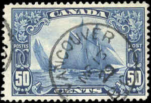Stamp-Canada-Used-1929-50c-F-Scott-158-034-Bluenose-034-King-George-V-Scroll