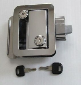 Chrome Rv Entry Door Lock Handle Knob Deadbolt Key Camper