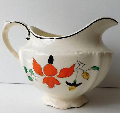 J&G Meakin milk cream jug vintage Art Deco hand-painted Sol 1920s 1930s flowers