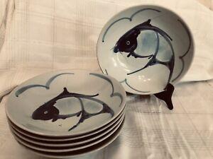 "Vintage Chinese Koi Fish Blue White Porcelain Bowl 9"" D X 2"" H"