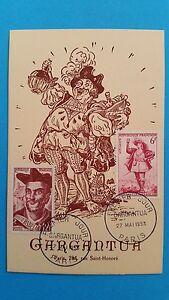 FRANCE-CARTE-MAXIMUM-YVERT-866-943-GARGANTUA-RABELAIS-12F-PARIS-1953-L-435