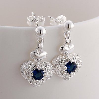 beautiful Fashion Silver Cute women Zircon Crystal Stud Earring jewelry wedding