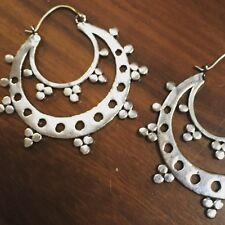 Silver Plated Tribal Design Half Moon Hoop Earrings