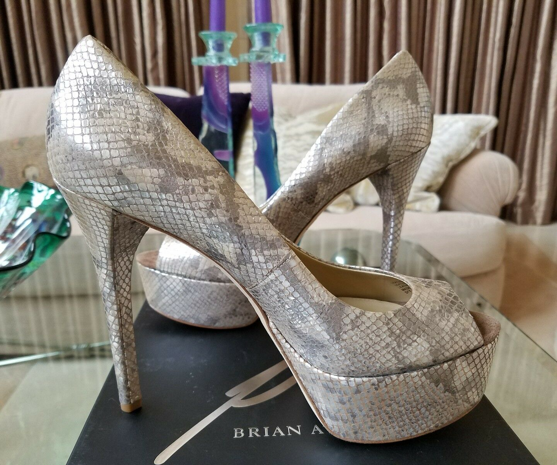 425 NIB BRIAN ATWOOD BAMBOLA SNAKESKIN PLATFORM PEEP TOE PUMPS BEIGE zapatos  9.5