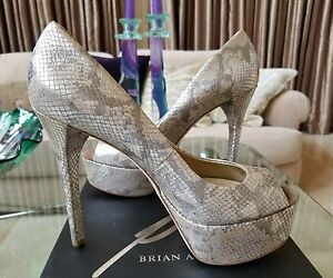 86cea3a66d1 Details about $425 NIB BRIAN ATWOOD BAMBOLA SNAKESKIN PLATFORM PEEP TOE  PUMPS BEIGE SHOES 9.5