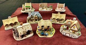 Lot-of-9-Miniature-Cottages-Figurines-by-Lilliput-Lane-David-Winter-Landmark