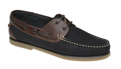 MENS Leather Lace Up Casual Boat Deck Shoes Size 4 5 6 7 8 9 10 11 12 Navy Brown