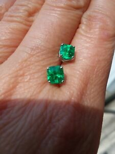 9b80de66eb1fe Details about Natural Colombia EMERALD earring 14K White Gold