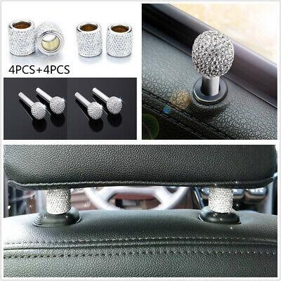 4XWhite Car Interior Headrest Collar Decor Rings Ice Diamond Crystal Accessories