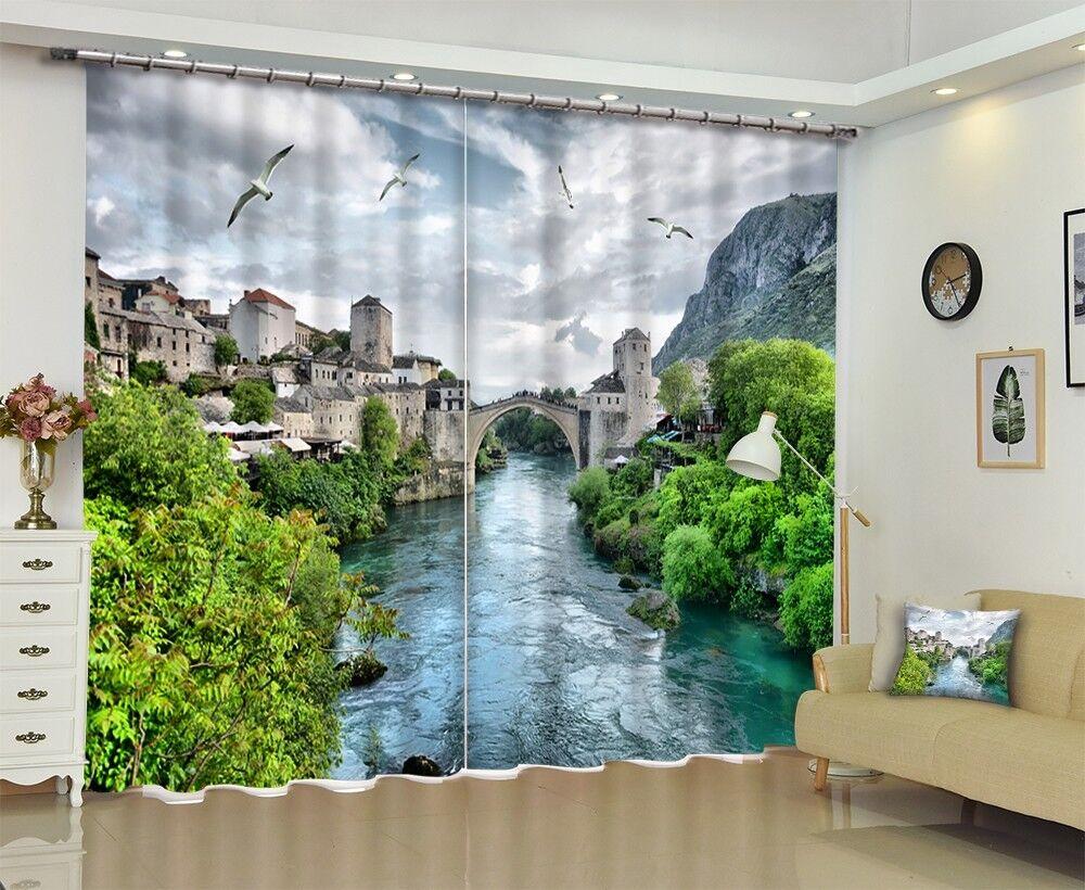 3D ciudad de Agua Bonita 53 Foto Impresión De Cortina Tela Cortinas Blockout Ventana CA