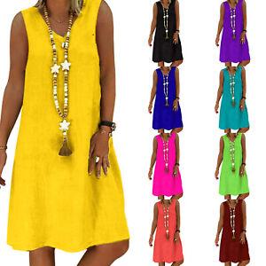 Plus-Size-Women-Solid-Sleeveless-Tunic-Dress-Ladies-Summer-Beach-Casual-Sundress