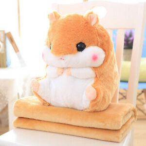 Plush-Hamster-Bolster-Throw-Pillow-with-Warm-Blanket-Sofa-Cushion-Toy-Coffee