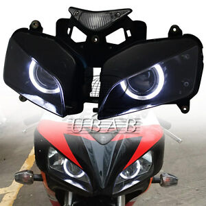 Assembly-HID-Projector-Headlight-Kits-White-Angel-Eyes-For-Honda-CBR1000-04-2007