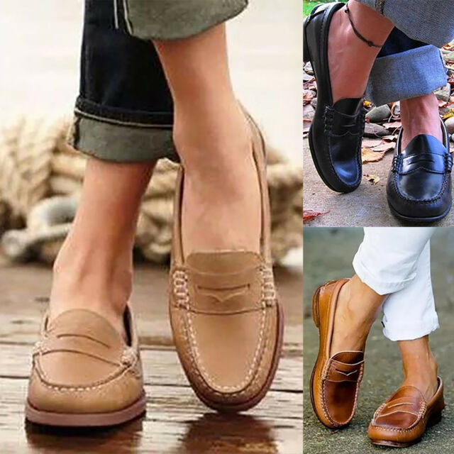 Woman Comfort Soft Leather Work Casual Ballet Ladies Slip On Loafer Flat Shoes