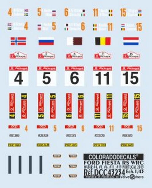 Decals 1//43 ford fiesta rs wrc #5 portugal hirvonen 2014-colorado 43240 uv