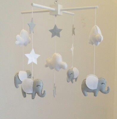 White And Grey Elephant Mobile Nursery