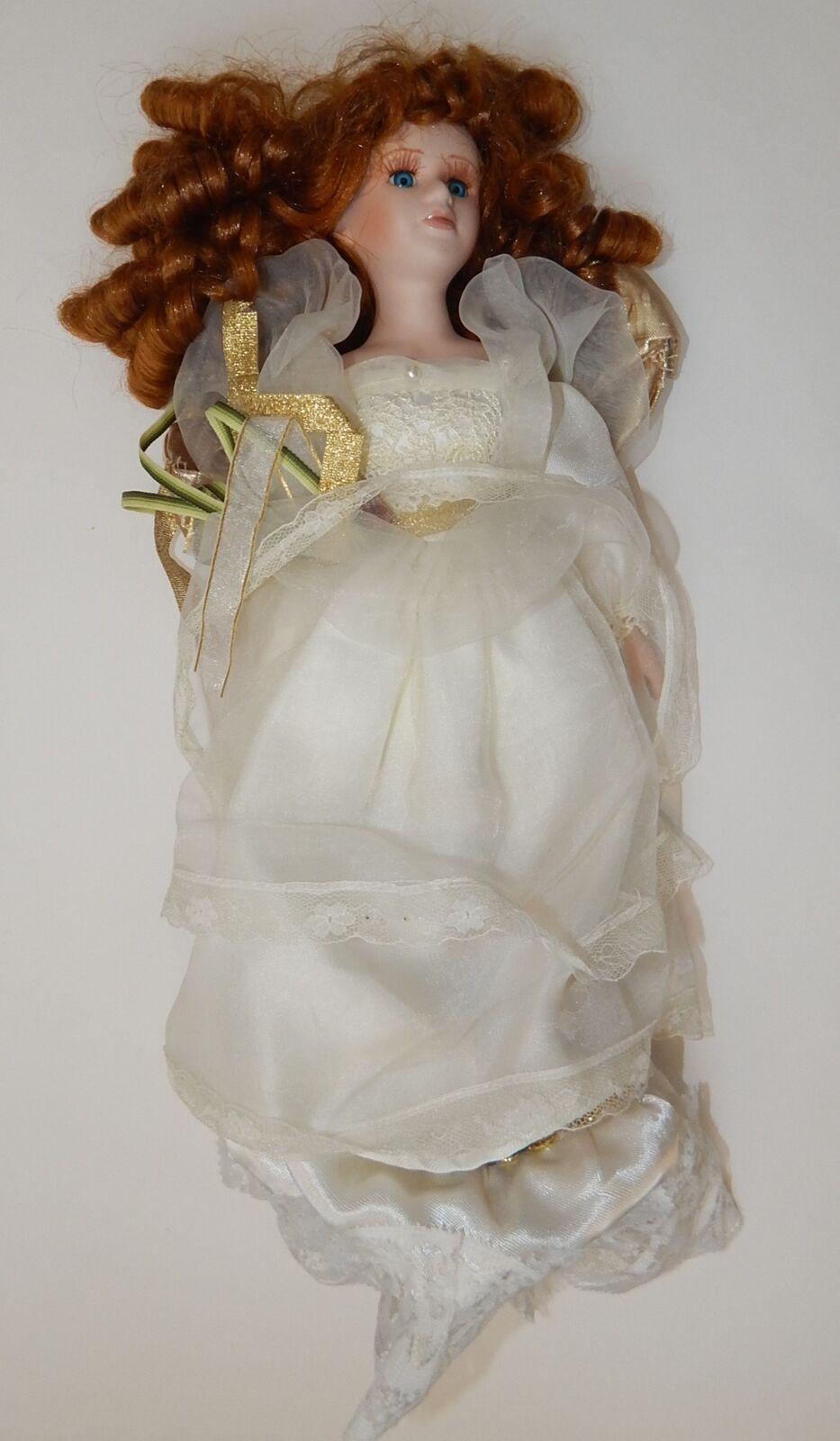 Vintage Porcelain Doll Goldenvale 1-2000 Long Dark braun Hair Curled R17841