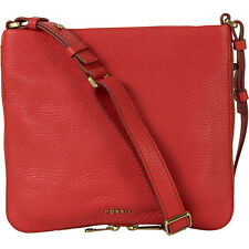 Fossil Preston Top Zip Cross Body Red Leather Women's Handbag ZB5874616