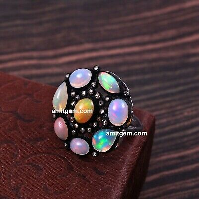 Victorian 925 Sterling Silver Real Diamond Opal Fire Victorian Ring Sterling Silver Beauty Wedding Jewelry
