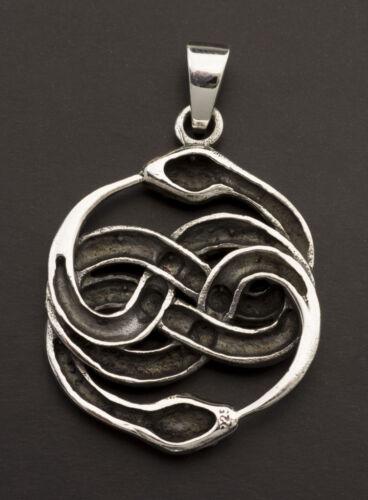 Pendentif tibetain Serpent ouroboros en Argent 925 massif 8.1g Tibet 25898 M31