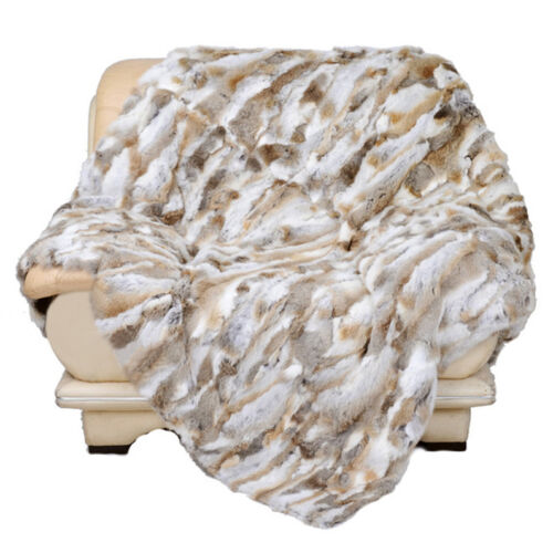 Real Farm Rabbit Exotic Fur Throws Brown Striking LuxuryRabbit Blanket 62/'/'X55/'/'