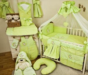 Details Zu Babybett Mit 10 Tlg Komplett Set Bettwäsche Matratze Nestchen Teddybär Grün