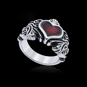 Vintage-Women-Biker-Punk-Red-Crystal-Heart-Stainless-Steel-Silver-Ring-Band