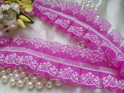 "1.5"" Box Pleated Ruffles Shocking Pink / White Organza Lace Trims-31 ""-T330SU"
