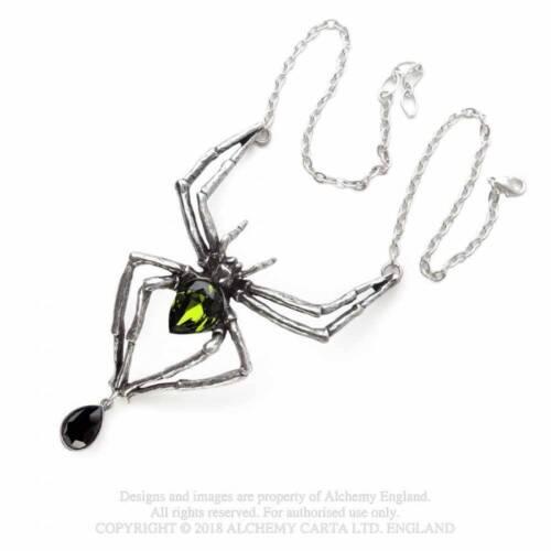 Alchemy Pewter Pendant Emerald Venom Big Spider Necklace Gothic Pewter