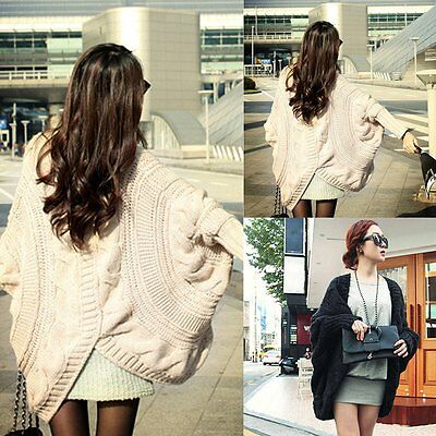 Women Loose Oversized Chunky Knitted Jumper Sweater Batwing Sleeve Tops Cardigan