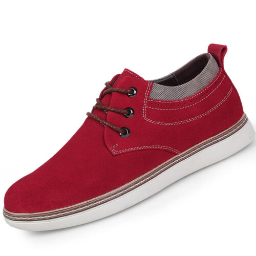 Men Leather Suede Increased within 7cm Sporting Sneaker Casual Elevator Shoes