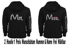 Mr Mrs Hoodie Pullover 2 Stück Partner Look Pärchen Sweatshirt Love XS - 5XL New