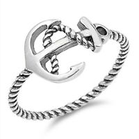 Sterling Silver Ring - Anchor And Rope