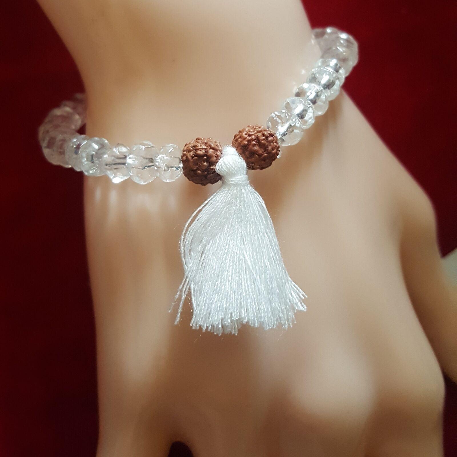 Rudraksha High Vibration Himalayan Water Crystal Quartz Tassel Bracelet