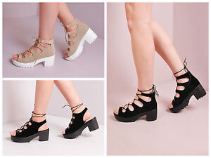Women Lace Up Cleated Platform Chunky Heel Sandal Block Heel ...