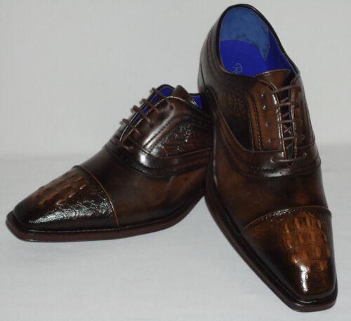 Roberto Chillini Status 6543 Mens Chocolate Brown Elegance Oxfords Dress Shoes