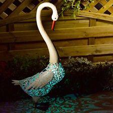 Solar Powered Swan Metal Garden Animal Pond Lawn Colour Changing Lights Decor